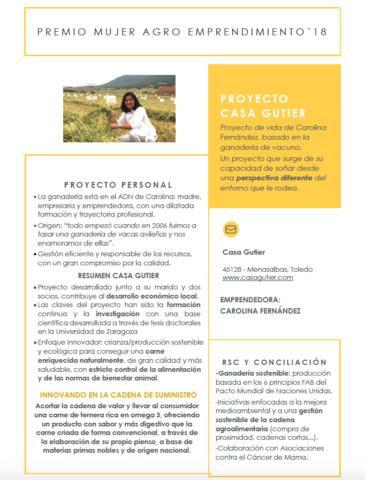 Carolina Fernández, Directora de marketing y ganadera de Casa Gutier, recibe el premio Mujer Agro 2018
